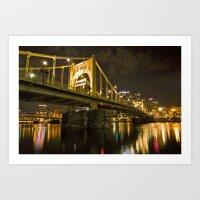 Roberto Clemente Bridge in Pittsburgh, Pennsylvania Art Print