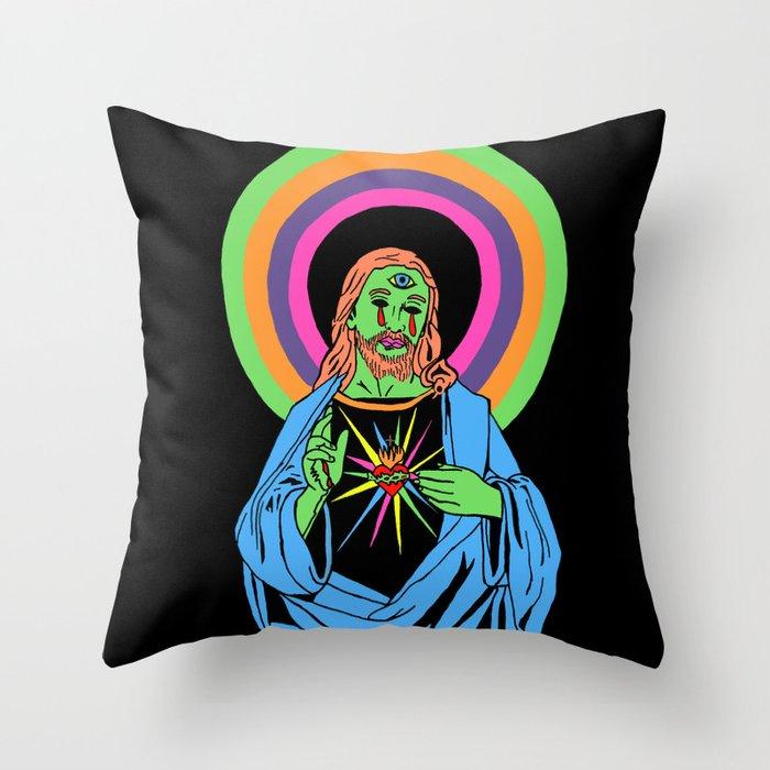 Blacklight Jesus Throw Pillow