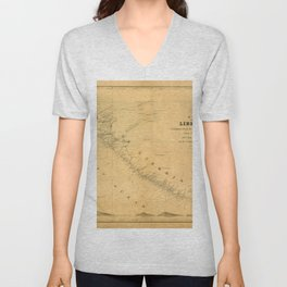 Map Of Liberia 1850 Unisex V-Neck