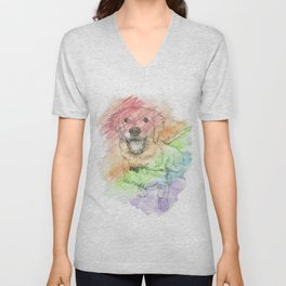 Golden Retriever Puppy Drawing Unisex V-Neck