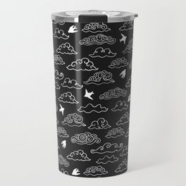 Black Doodle clouds and swallows. Cloudscape pattern with birds. Travel Mug
