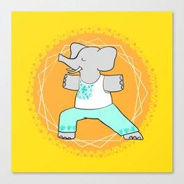 Yoga elephant - warrior pose Canvas Print