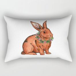 Flower Bunny Rabbit Rectangular Pillow