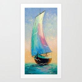 Sailboat at sea Art Print