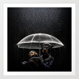 Cat & Dog Art Print