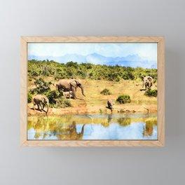 Elephant Herd Framed Mini Art Print