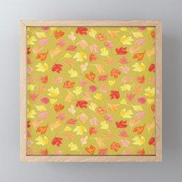 Autumn Leaves | Mustard Background Framed Mini Art Print