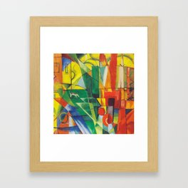 """Franz Marc """"Landscape with House and Two Cows (also known as Landscape with House, Dog and Cattle)"""" Framed Art Print"""
