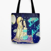 aladdin Tote Bags featuring Jasmine & Aladdin  by NayomiArt