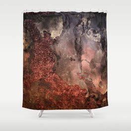 Copper Glitter Stone and Ink Abstract Gem Glamour Marble Shower Curtain