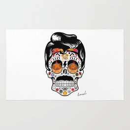 SKULL ROCK / Famous Musical Groups - Symbols - Digital Illustration Art - Pop Art - Wall Decor Rug