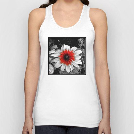 Flower | Flowers | Red Stroke Gaillardia | Red and White Flower | Nadia Bonello Unisex Tank Top