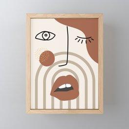 Madame red lips Framed Mini Art Print