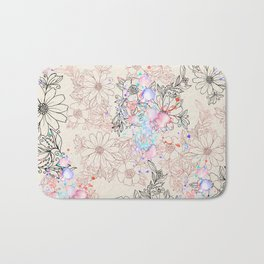 Modern vintage black rose gold watercolor floral Bath Mat