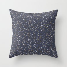 Speckles I: Dark Gold & Snow on Blue Vortex Throw Pillow