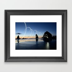 Ocean light rays Framed Art Print