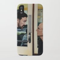 larry david iPhone & iPod Cases featuring Ricky Gervais and Larry David Stare Down by Laura Baran