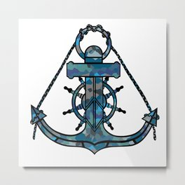 Anchor and Steering Helm [Multicolored 2] Metal Print