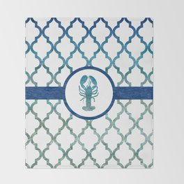 Lobster: Tropical Water Moroccan Pattern Throw Blanket