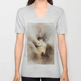 Nude woman sitting watercolor Unisex V-Neck
