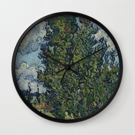 Vincent Van Gogh - Cypresses and Two Women Wall Clock