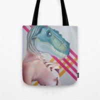 queer Tote Bags featuring Queer Dinosaur by Kim Leutwyler