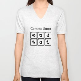 Comma Sutra Sexe Positions Drôle Cool Humor Sexy Livre Guide Funny Unisex V-Neck