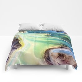 Island Abstract Watercolor Painting Comforters