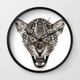 Realistic leopard portrait Wall Clock