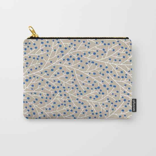 Blue & White Berry Branches Carry-All Pouch