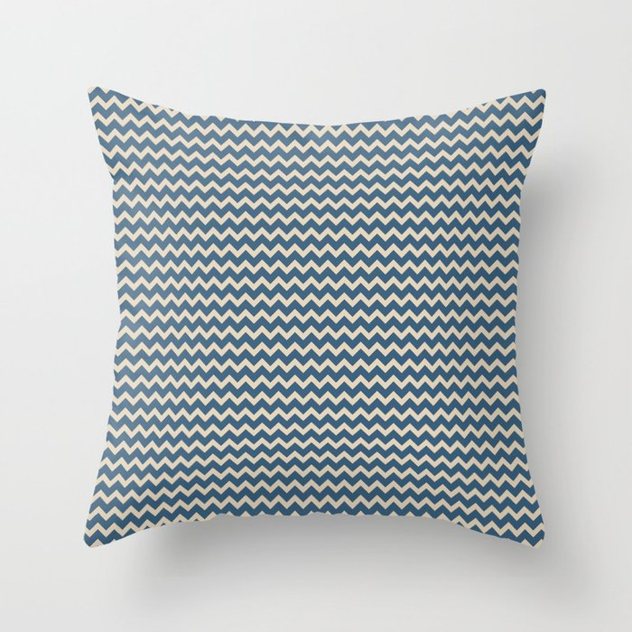 Blue & Beige Chevron Pattern Inspired by 2020 Color of the Year Chinese Porcelain PPG1160-6 Throw Pillow