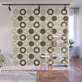 Brown Circles, Tan Dots, Pattern, Digital Design Wall Mural