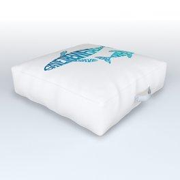 Save the Whales, Aqua blue Outdoor Floor Cushion