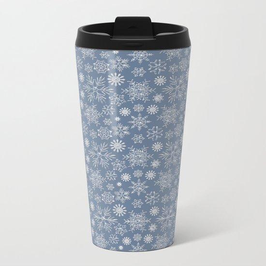 Merry Christmas- Abstract christmas snow star pattern on fresh grey Metal Travel Mug