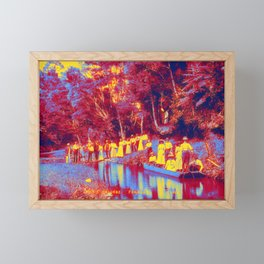 Group at picnic grounds, Ferndale Neon art by Ahmet Asar Framed Mini Art Print
