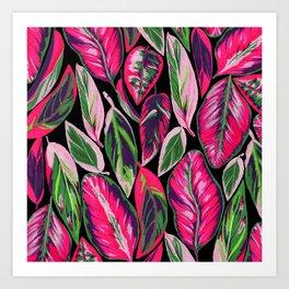 Pink leaves pattern Art Print