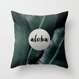 Aloha silver - banana leaf Throw Pillow