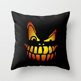 Pumpkin Face - Dark Throw Pillow