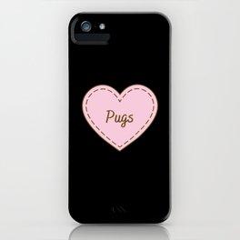 I Love Pugs Simple Heart Design iPhone Case