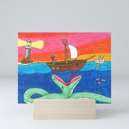 Beware of Sea Snakes Mini Art Print