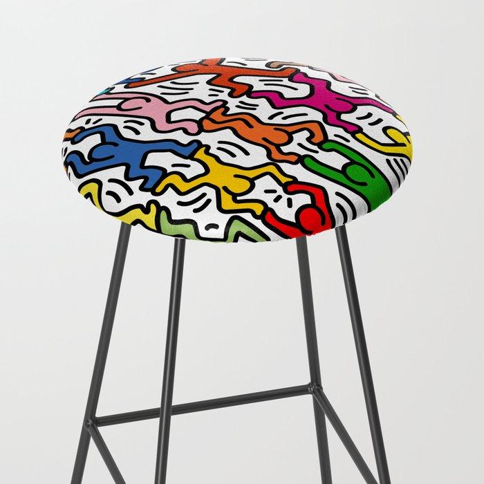 Homage to Keith Haring Acrobats II Bar Stool