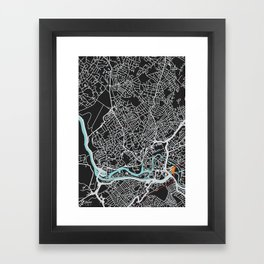 Bristol Map (noir) Framed Art Print