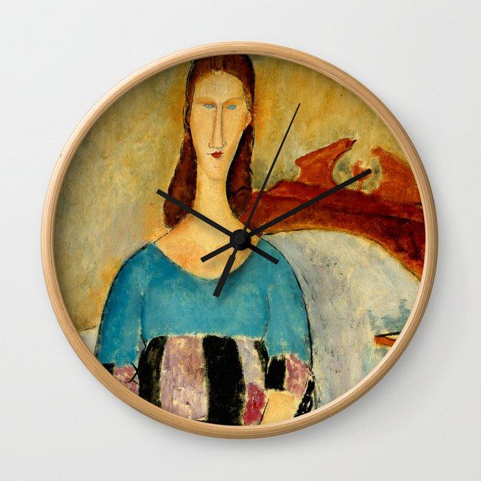 "Amedeo Modigliani ""Portrait of Jeanne Hebuterne, Seated"" 1918 Wall Clock"
