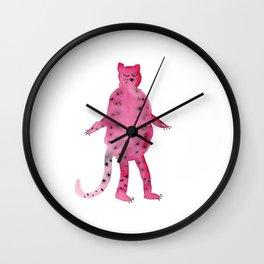 pink jungle cat illustration Wall Clock