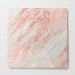Desert Rose Gold Pink Marble Metal Print