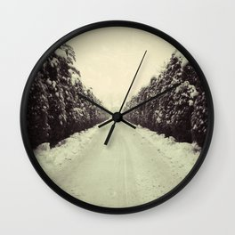 Avenue during a snowing. Wall Clock