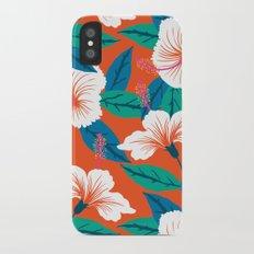 White hibiscus iPhone X Slim Case