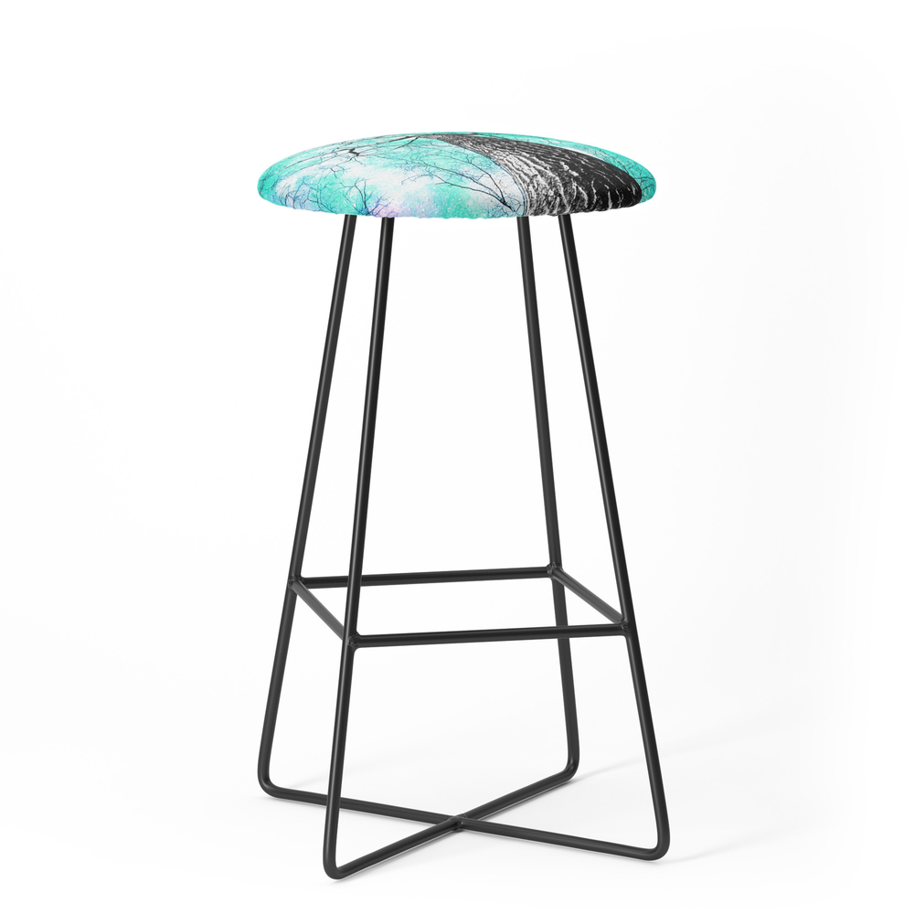 Wintry Trees Galaxy Skies Seafoam Mint Aqua Bar Stool by vintageby2sweet