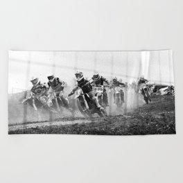 Motocross black white Beach Towel