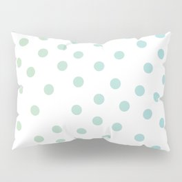 Simply Dots in Turquoise Green Blue Gradient on White Pillow Sham